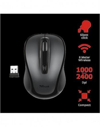 TRUST SIERO 2400DPI Sessiz Kablosuz Siyah Mouse (23266)
