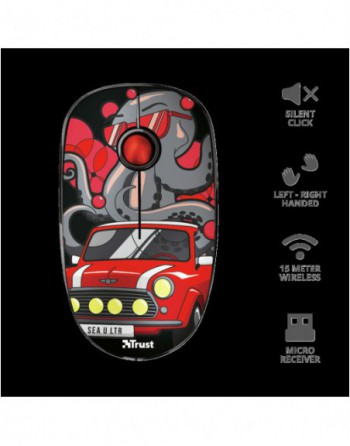 TRUST SKETCH 1600DPI Kablosuz Sessiz Kırmızı Mouse...
