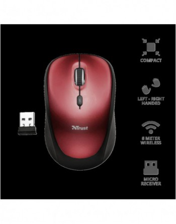 TRUST YVI 1600DPI Kablosuz Kırmızı Mouse (19522)