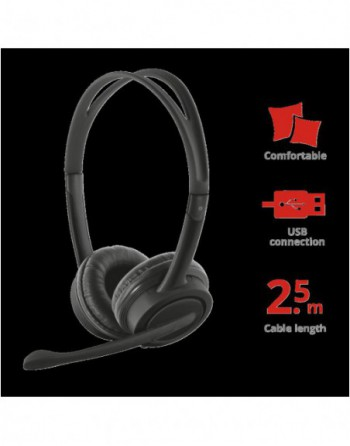 TRUST MAURO USB Kablolu Mikrofonlu Siyah Kulaklık...